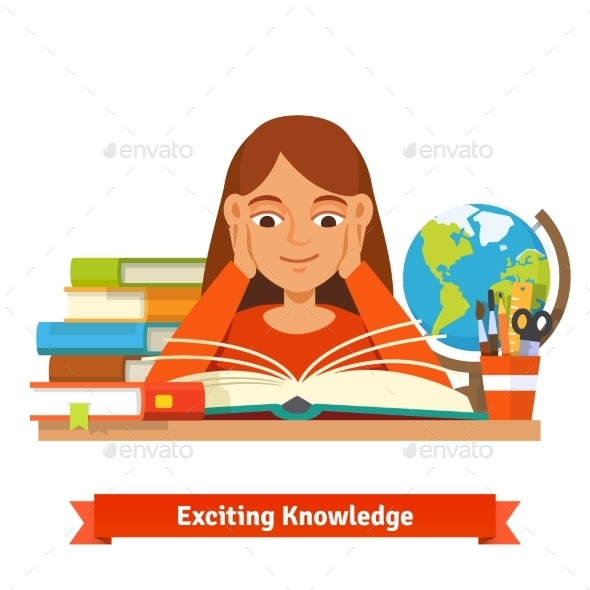 Young Brown Hair Girl Student Reading a Book - People Characters