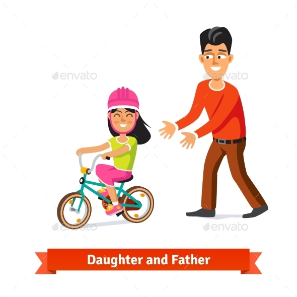 Father Teaching Daughter to Ride a Bicycle - People Characters