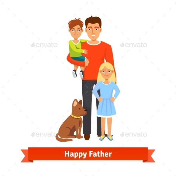 Father with Son Daughter and Dog - People Characters