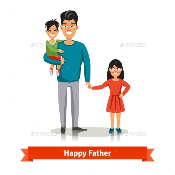 Father Holding his Son And Daughter's Hand - People Characters