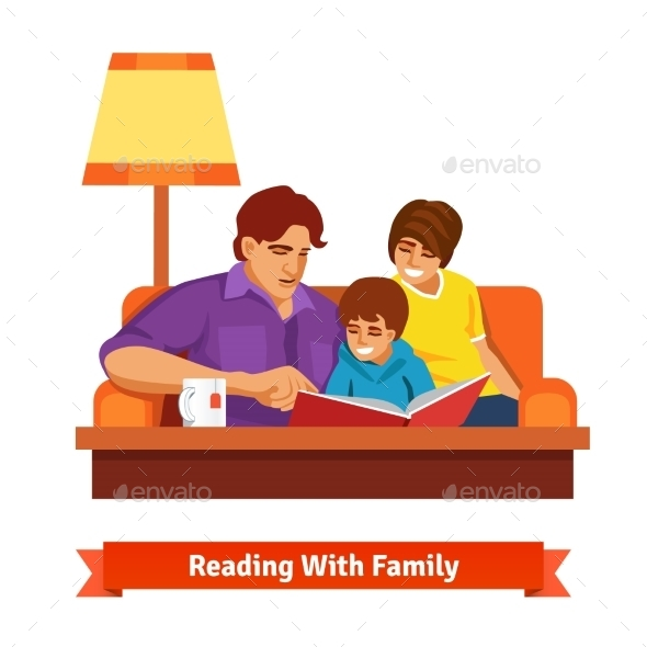 Happy Family Reading Together - People Characters