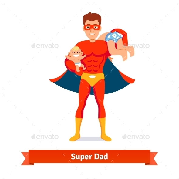Superhero Dad Taking Care of Two Sons - People Characters