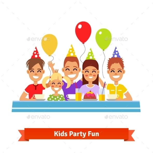 Happy Smiling Kids Having Fun at Birthday Party - Birthdays Seasons/Holidays