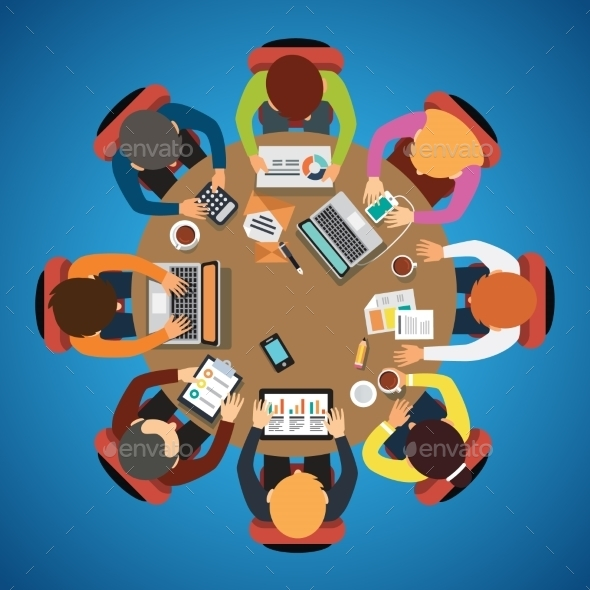 Eight People Team Sitting and Working Together - People Characters