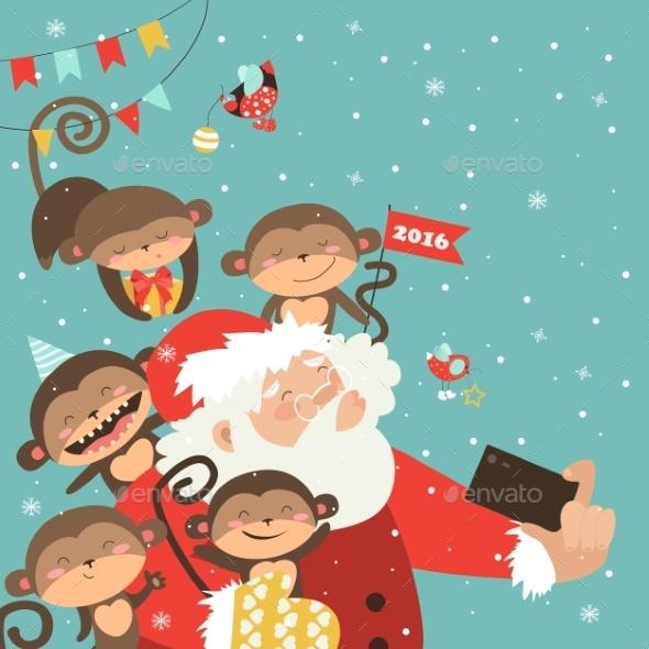 Santa and Monkeys Take a Selfie - Christmas Seasons/Holidays
