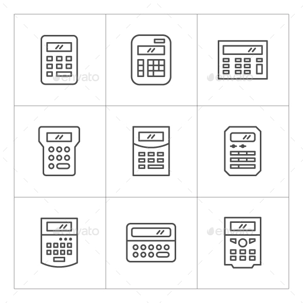 Set Line Icons of Calculator - Man-made objects Objects