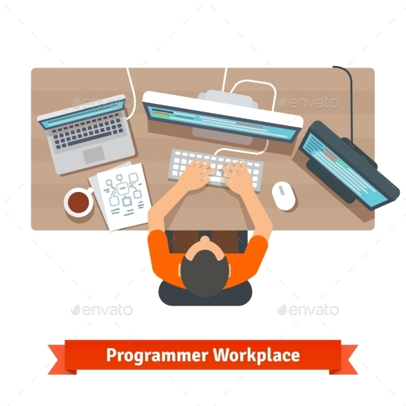 Software Programmer Typing Code or Debugging - Computers Technology