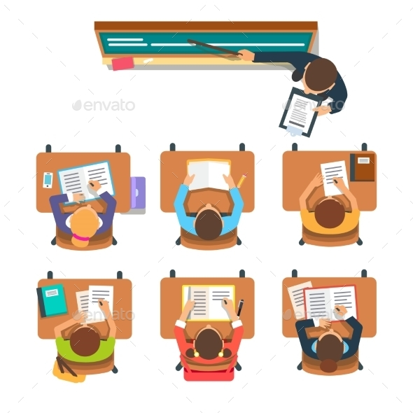 Teacher in Front of the Children in a Classroom - People Characters