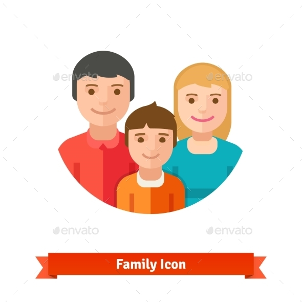 Happy Family with Child - People Characters