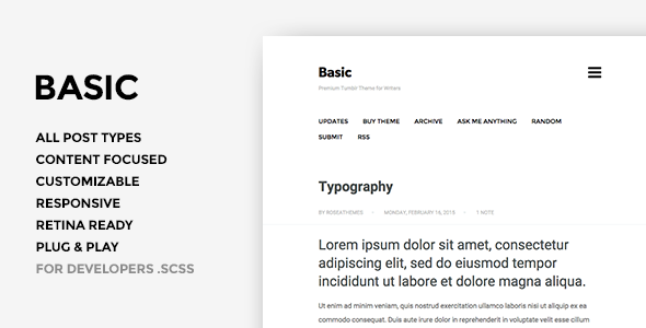 Basic 3 –  One Column Tumblr Theme