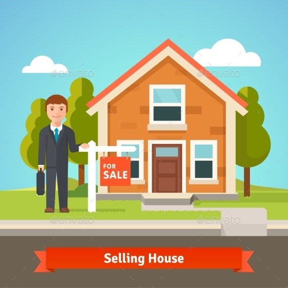 Real Estate Broker and House with For Sale Sign - Buildings Objects