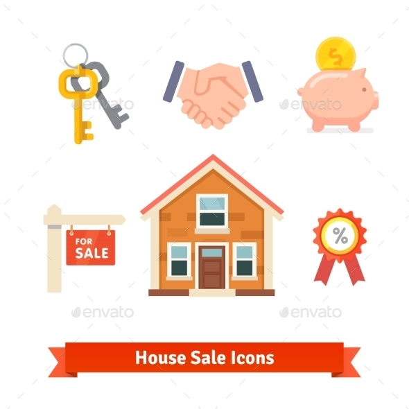Real Estate House Mortgage Loan Buying Icons - Miscellaneous Conceptual