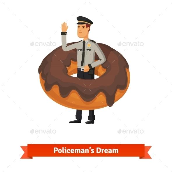 Cartoon Policeman in a Donut Dream Concept - Abstract Conceptual