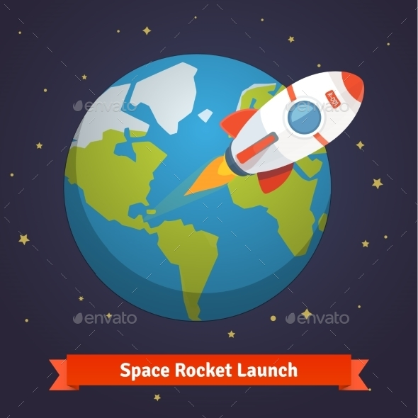 Cartoon Space Rocket Leaving Earth Orbit - Travel Conceptual