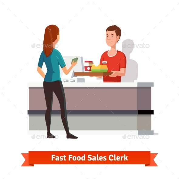 Sales Clerk Handing Tray to a Woman Customer - Food Objects