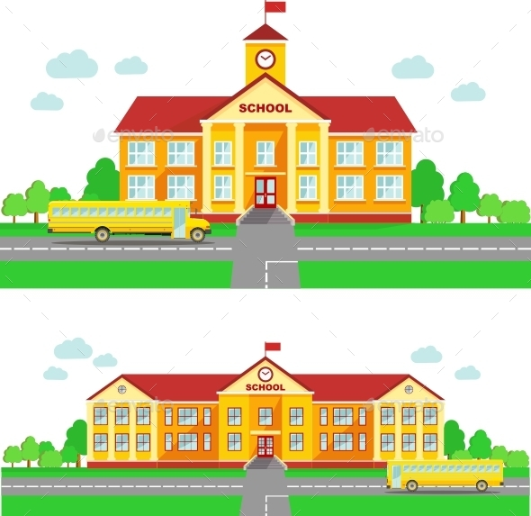 Panoramic Background with School Building - Buildings Objects