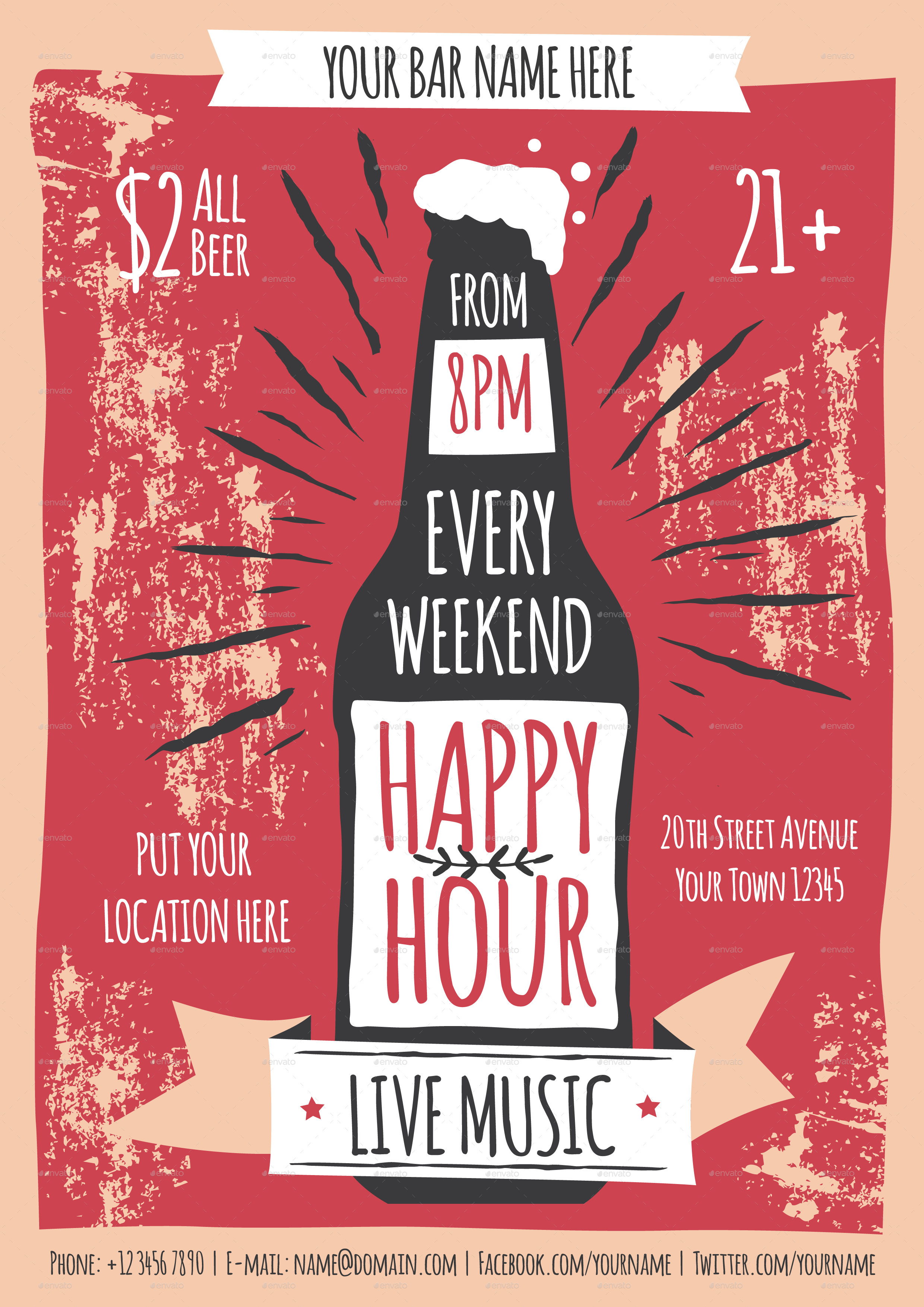 Happy Hour Flyer Template Yolarnetonic