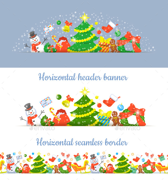 Christmas Symbols Horizontal Header Banner - Christmas Seasons/Holidays