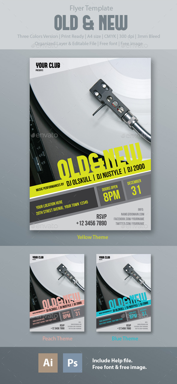 Old and New Flyer Template - Clubs & Parties Events