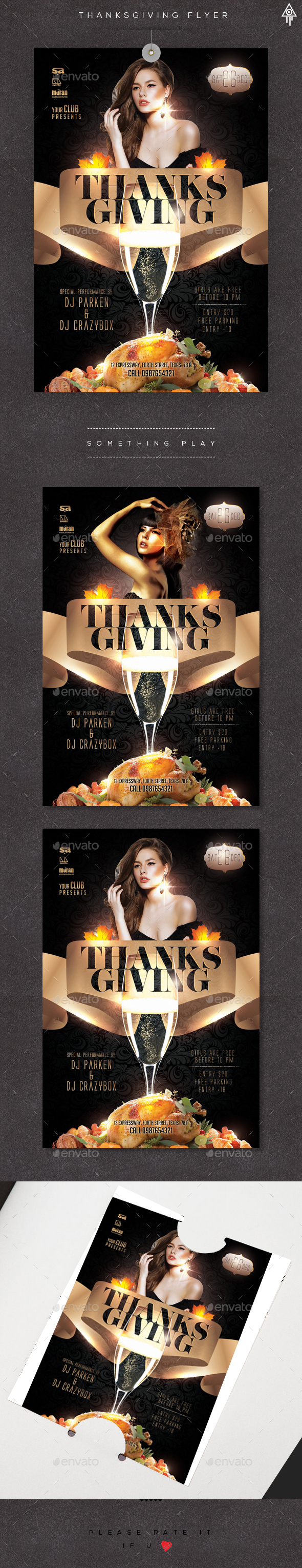 Thanksgiving Night Party Flyer  - Clubs & Parties Events
