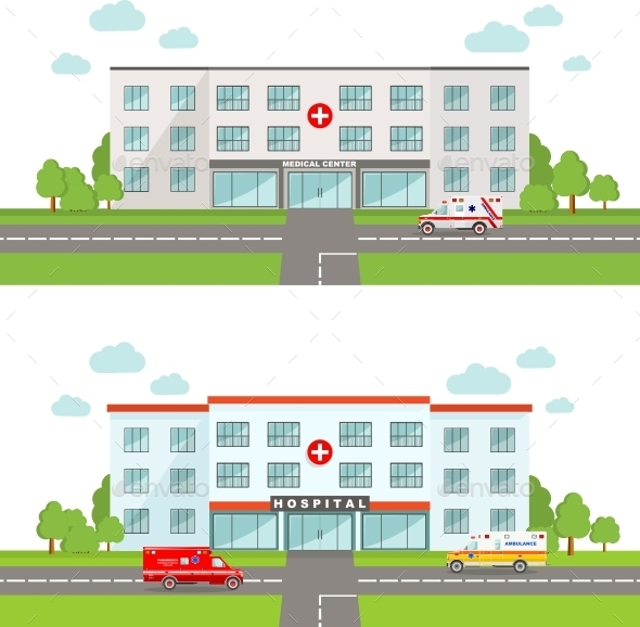 Medical Concept with Hospital and Ambulance Car - Buildings Objects