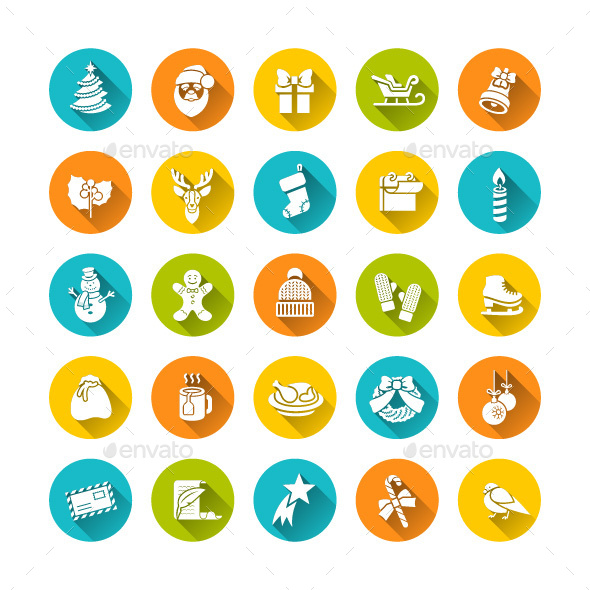 Christmas Flat Round Icons Set  - Seasonal Icons