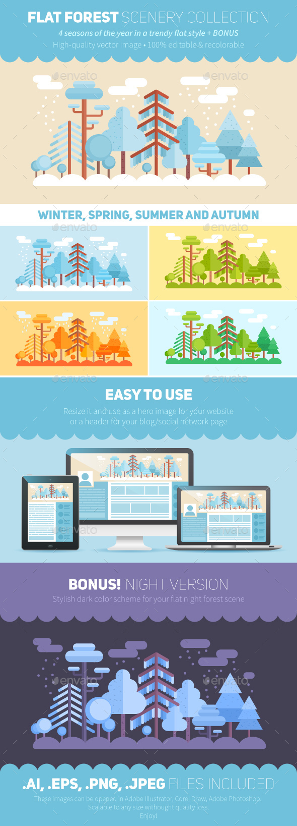 Flat Style Forest Scenery: 6 Color Schemes - Seasons Nature