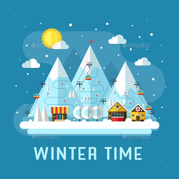 Winter Vacation Resort Landscape - Sports/Activity Conceptual