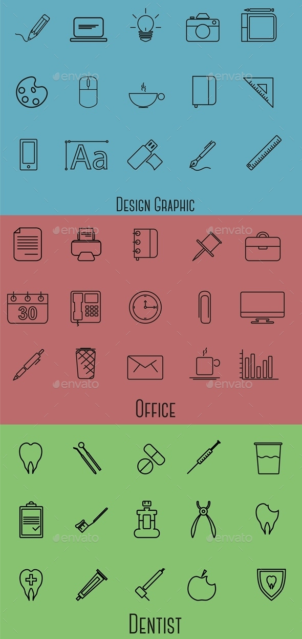 45 Profession line Icons - Business Icons
