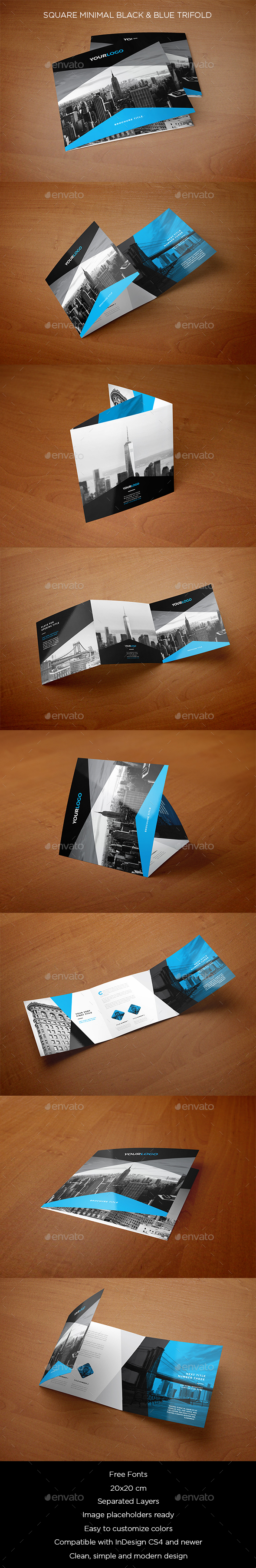 Square Minimal Black & Blue Trifold - Brochures Print Templates