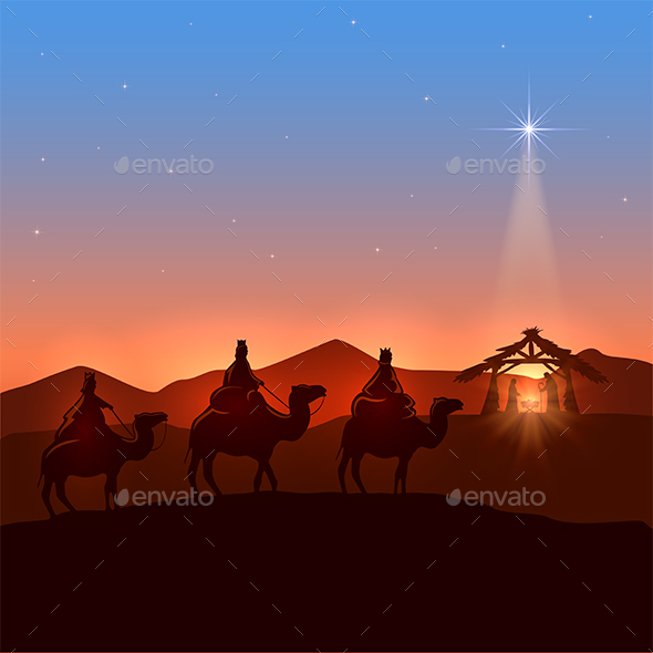 Three Wise Men and Christmas Star - Christmas Seasons/Holidays