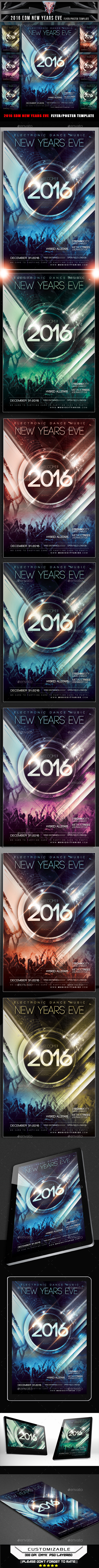 2016 EDM New Years Eve Flyer Template - Clubs & Parties Events