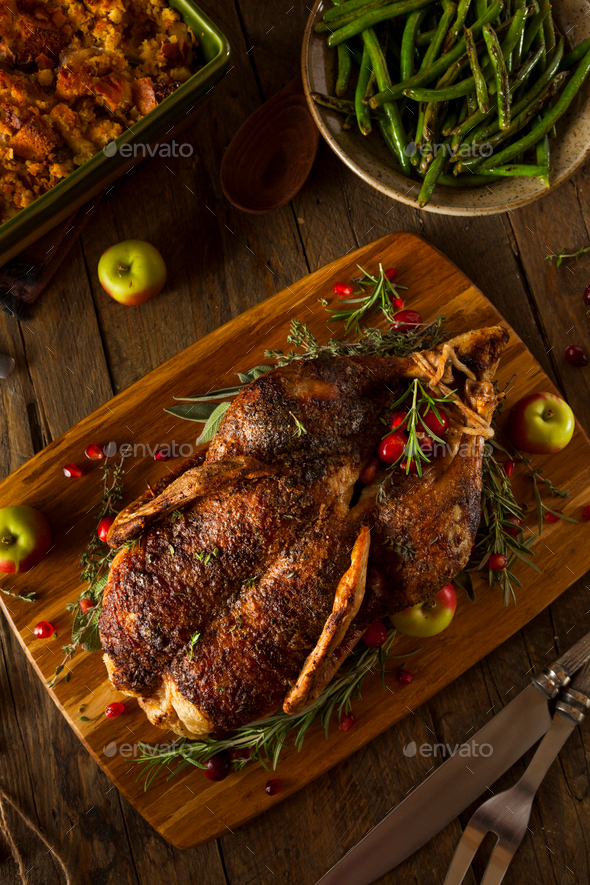 Homemade Roasted Duck with Herbs - Stock Photo - Images