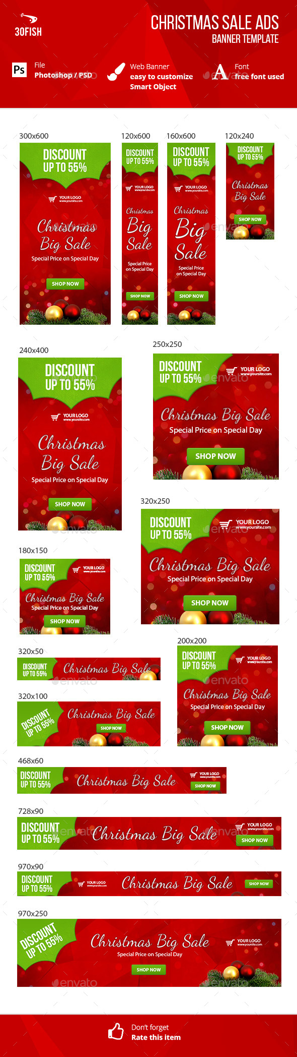 Christmas Sale Ads Banner - Banners & Ads Web Elements