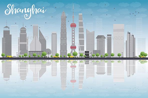 Shanghai Skyline with Blue Sky - Buildings Objects