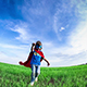 Superhero Kid Running In Green Field - VideoHive Item for Sale