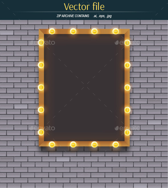 Light Bulbs and Frame on Brick Wall Background - Backgrounds Decorative