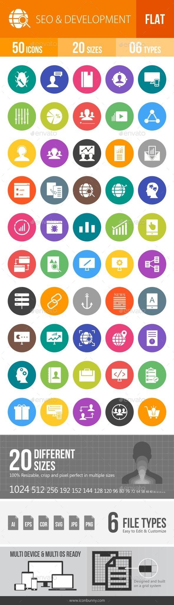 SEO & Development Services Flat Round Icons - Icons