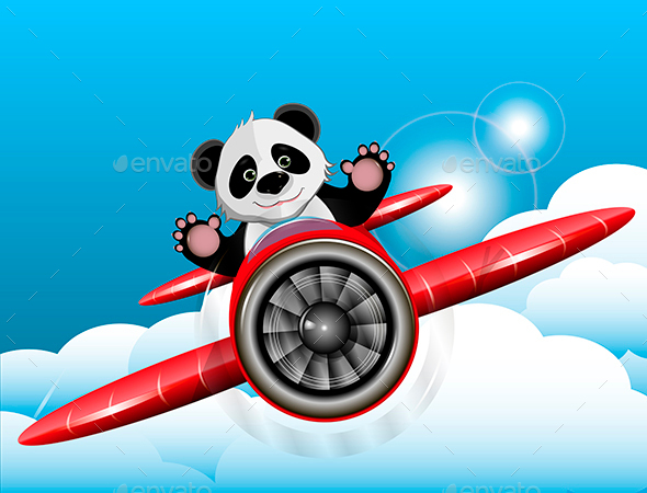 Panda on the plane - Animals Characters
