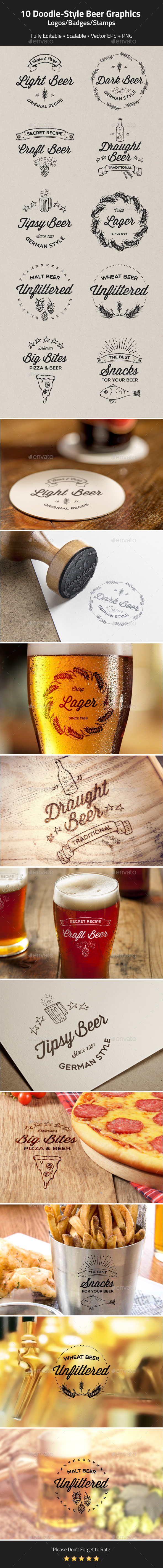 10 Doodle-Style Beer logos, badges, stamps - Badges & Stickers Web Elements