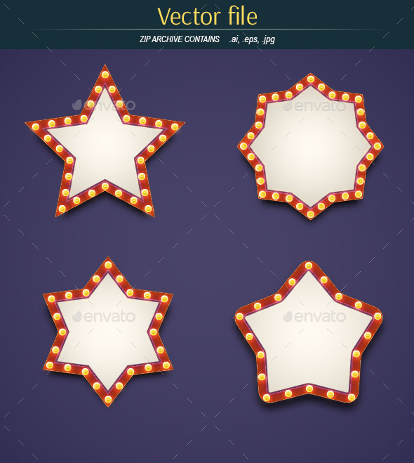 Light Bulbs with Stars and Place for Text - Decorative Vectors