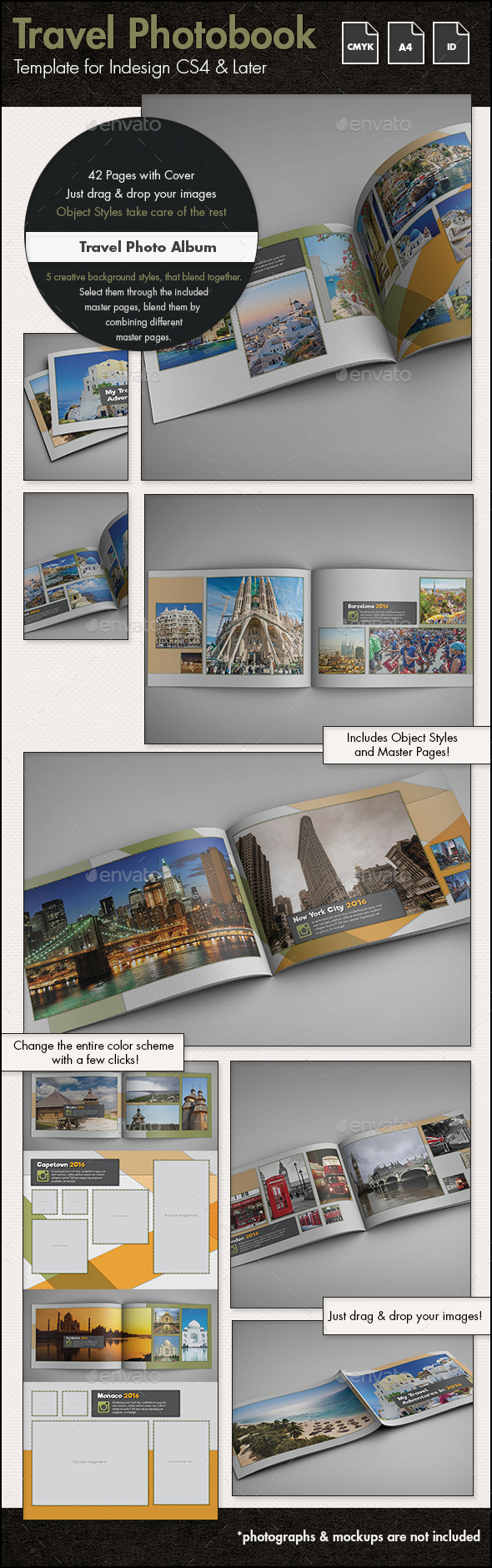 Travel Photo Album Template g2 - A4 Landscape - Photo Albums Print Templates