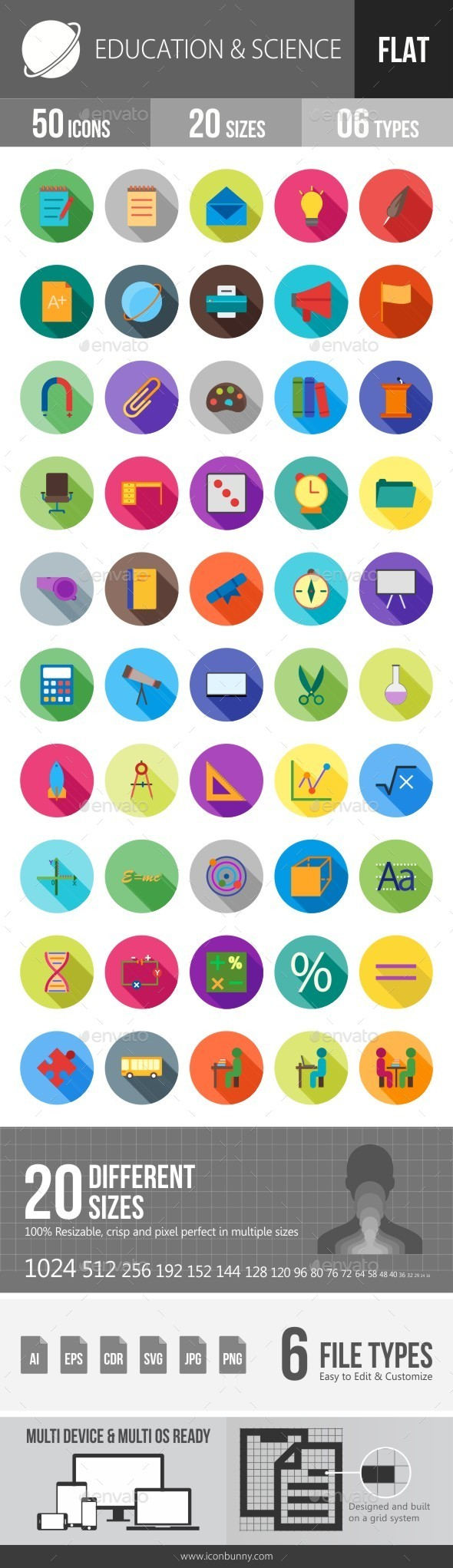 Education & Science Flat Shadowed Icons - Icons
