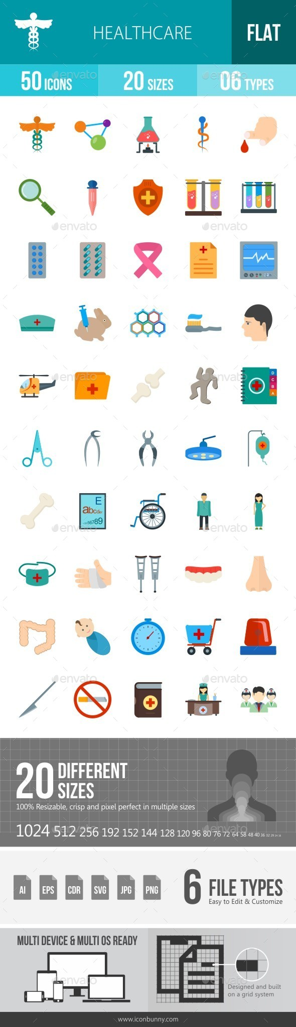 Healthcare Flat Multicolor Icons - Icons