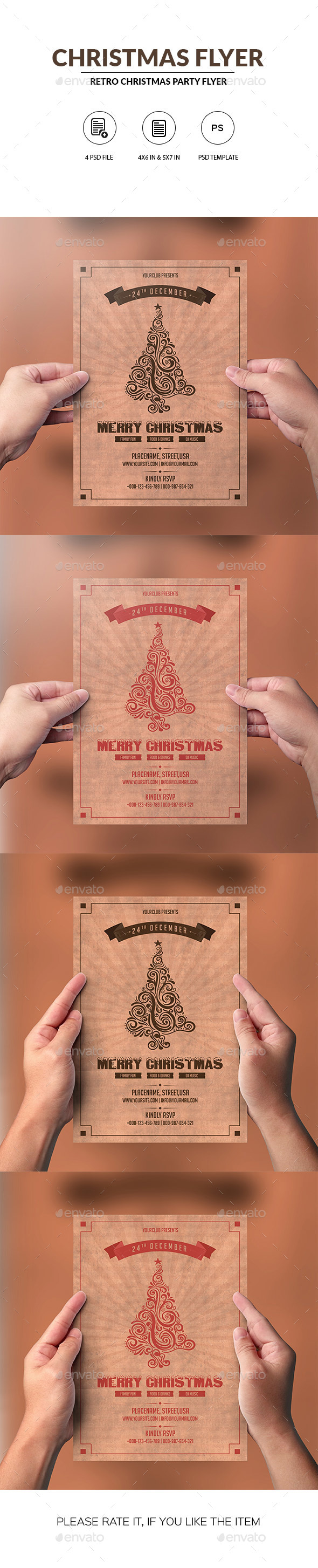 Retro Christmas Party Invitation Flyer - Clubs & Parties Events
