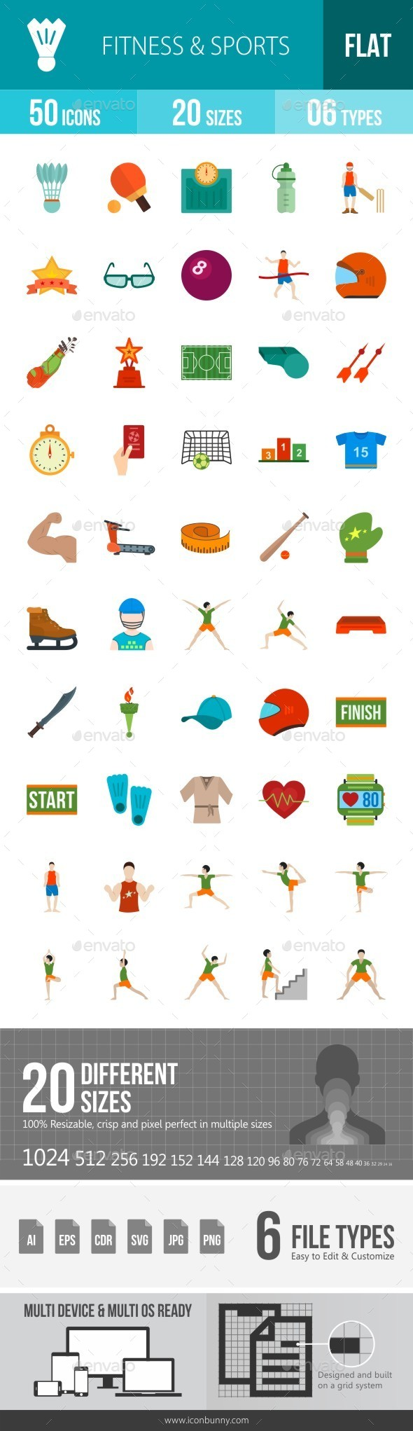 Fitness & Sports Flat Multicolor Icons - Icons