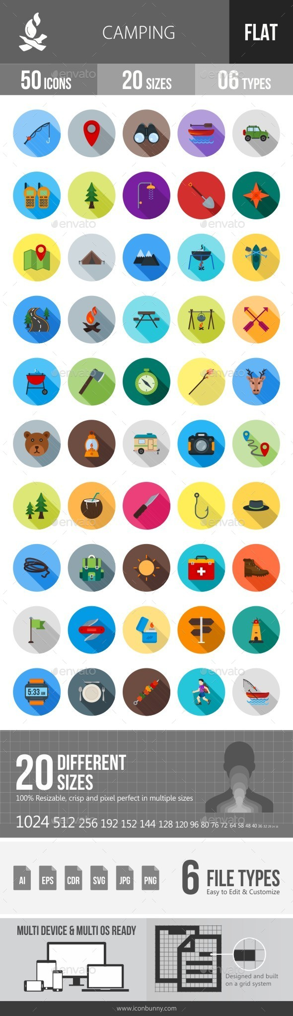Camping Flat Shadowed Icons - Icons