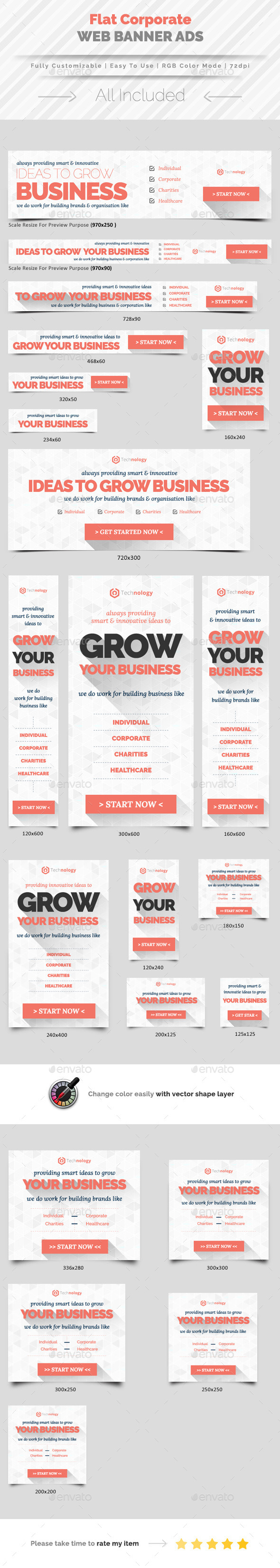 Flat Corporate Web Banner Ads - Banners & Ads Web Elements