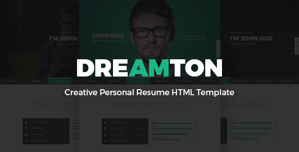 Dreamton – Creative Personal Resume HTML Template