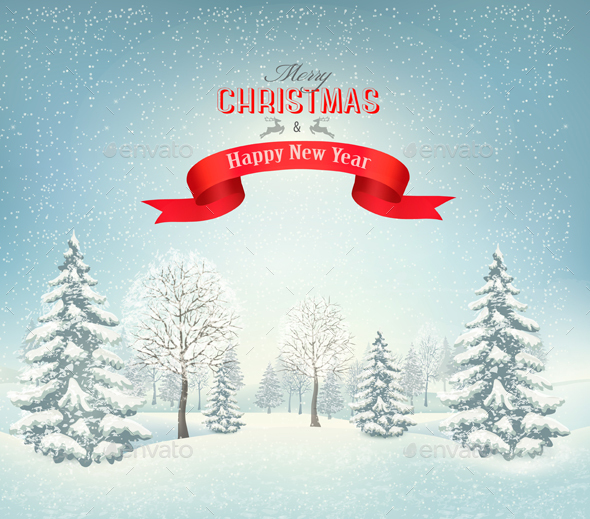 Christmas Background With A Snowy Landscape. - Christmas Seasons/Holidays